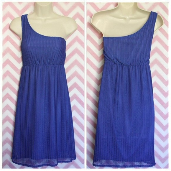 Judith March Dresses & Skirts - Judith March Blue One Shoulder Dress Size M